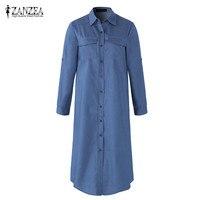 ZANZEA Fashion Women Turn Down Collar Buttons Long Sleeve Denim Blue Long Shirts Blouse Solid Tops