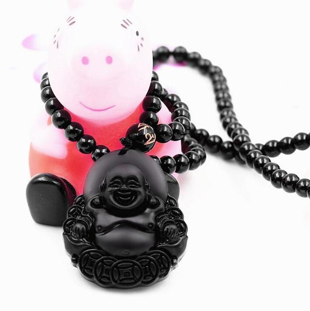 New natural obsidian necklace fashion black smile maitreya buddha new natural obsidian necklace fashion black smile maitreya buddha pendant for women men vintage jade jewelry aloadofball Gallery