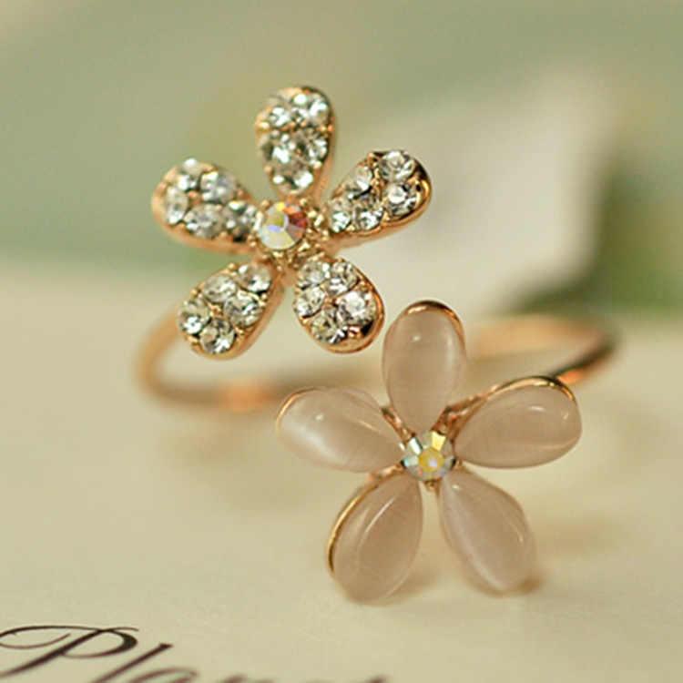 Meninas novo estilo 1 pc rosa de ouro ajustável feminino cristal aberto flor anéis venda quente meninas drop shipping