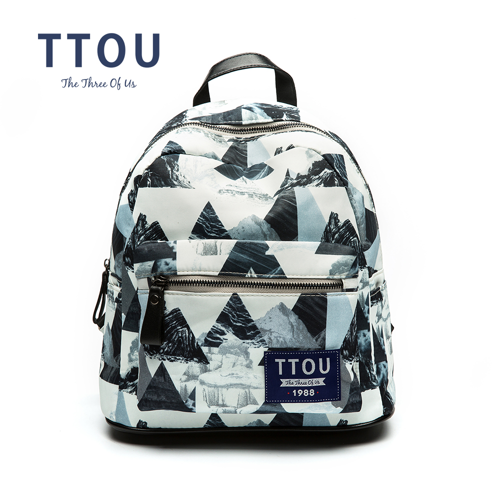 Reka bentuk TTOU Fesyen Percetakan Geometric Backpack Teenage Girls School Bag Backpack Wanita Backpack Bag Backpack
