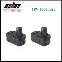 2x Eleoption 18V 5000mAh Li Ion Rechargeable Battery For Ryobi P108 RB18L40 P2000 P310 For Ryobi