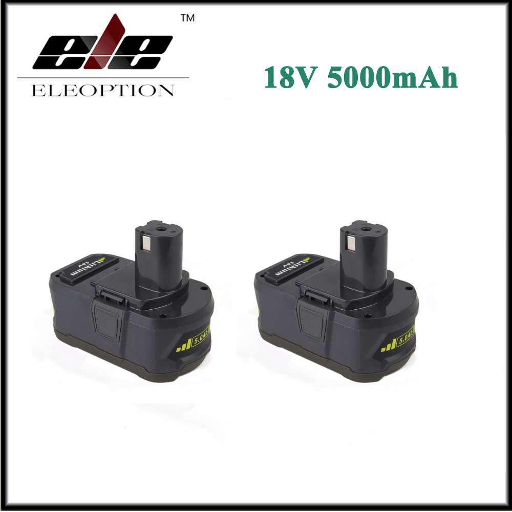 2x Eleoption 18V 5000mAh Li-Ion Rechargeable Battery For Ryobi P108 RB18L40 P2000 P310 For Ryobi for ONE+ BIW180 eleoption with charger 18v 5000mah li ion rechargeable battery for ryobi 18v battery and charger p108 p310 for one biw180