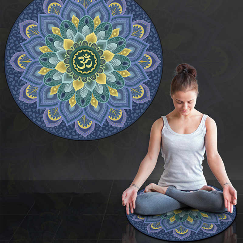 Pu Mandara Little Round Tikar Yoga 3 Mm Karet Alam Suede Non Slip Yoga Cushion Home Meditasi Pad Pilates Tikar (60*60 Cm * 3 Mm)