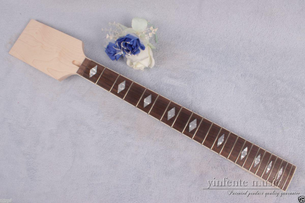 1 Pcs Electric Guitar Neck 22 Fret 25.5'' Maple Rose Fretboard Unfinished #872