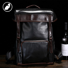 ETONWEAG New 2016 men famous brands cow leather black vintage luxury travel bags laptop school bags zipper designer backpacks