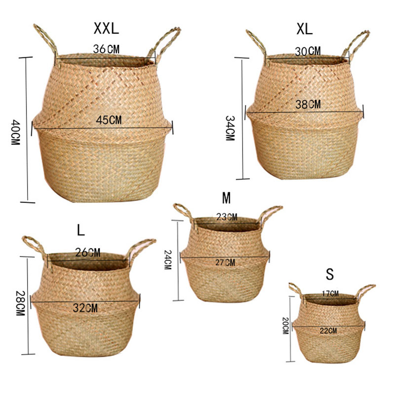 Seagrass Wickerwork Basket Rattan Hanging Flower Pot Dirty Laundry Hamper Storage Basket MAL999