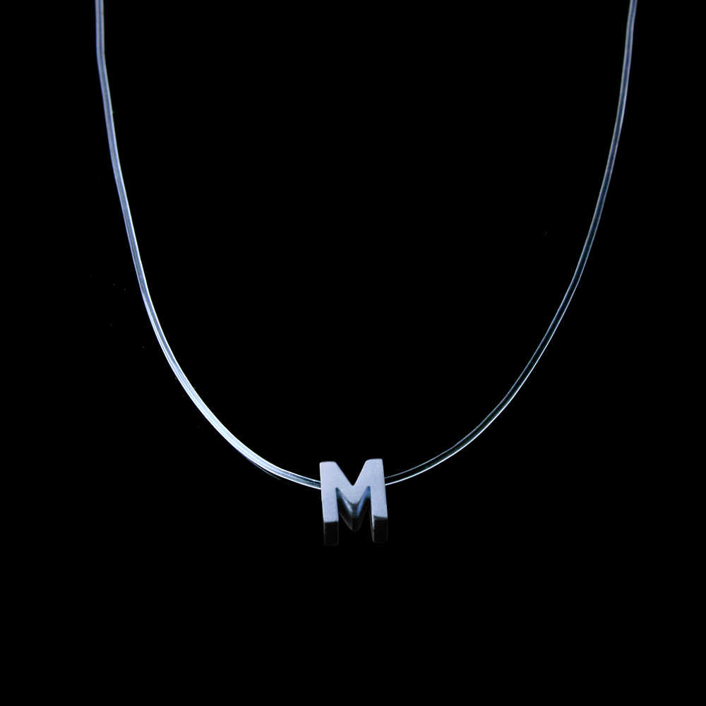 ZUUZ silver M invisible chain necklace accessories mens chains male letters  choker male pendant necklace women chocker neckless