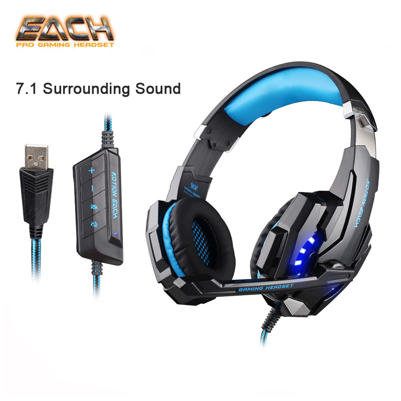 KOTION EACH G9000 Pro USB 7.1 Surround External Sound Card Professional Game Gaming Headphone Headset With Microphone LED For PC kotion each g9000 7 1 surround sound gaming headphone game stereo headset with mic led light headband for ps4 pc tablet phone