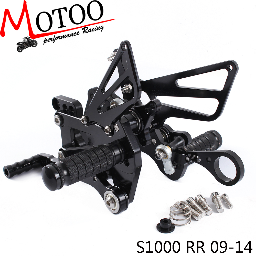 Motoo - Full CNC Aluminum Motorcycle Adjustable Rearsets Rear Sets Foot Pegs For BMW S1000RR 2009-2014 free shipping of 1pc hss 6542 full cnc grinded machine straight flute thin pitch tap m37 for processing steel aluminum workpiece