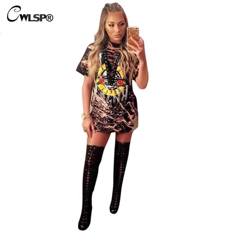 6449fe0d6abe ... CWLSP 2018 GUN ROSES Print T Shirt Women American Rock Music Festival  Tops Hollow Out V ...