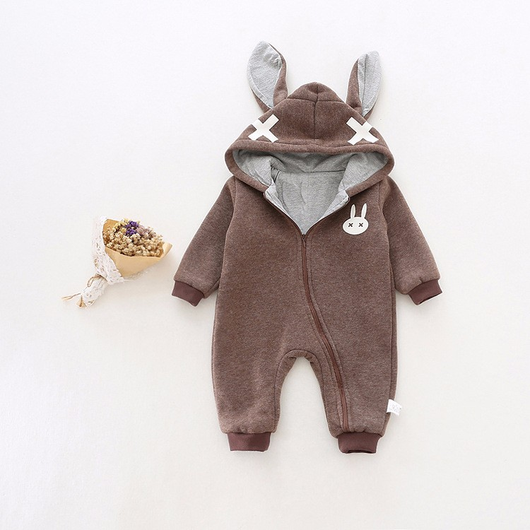 baby girl cross rabbit ear winter rompers (7)