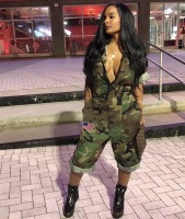 VAZN Hot Sale Women 2018 Casual Design Camouflage Women Calf Length Jumpsuits Short Sleeve Pockets Zipper Cool Thick Romper Y074