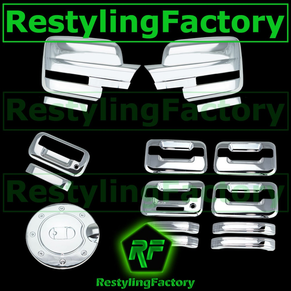 97-03 Ford F150 Triple Chrome 4 Door Handle+NO KYP+w//PSG KH+Tailgate+GAS Cover