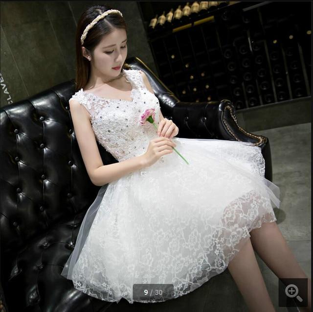 Vestido De Novia little white short cocktail dresses 2017 beaded ...