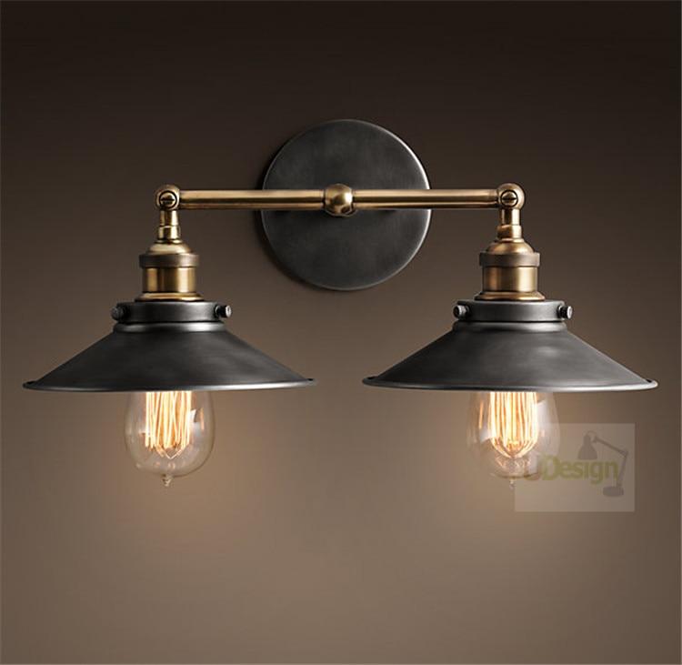 Free shipping America style  vintage copper wall lamp edison iron +TWO E27 Lamp holder  5002L-Dia26 copper bathroom shelf basket soap dish copper storage holder silver