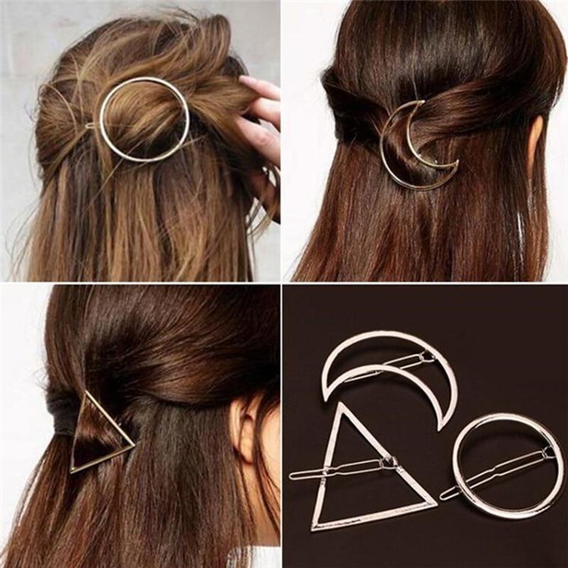New Brand Fashion Hairpin Star Moon Triangle Hair Clip