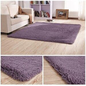 European modern long hair non-slip silk floor mat living room coffee table rug bedroom bed thick carpet rectangular blanket(China)
