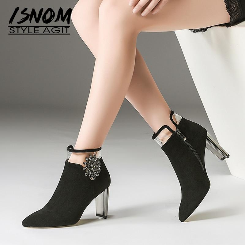 Pvc En De Talons black Black Boot Li Femme Pointu Li Bottes Daim Mode Hauts Chaussures Petit Femmes Isnom Bout Mao D'hiver 2018 Nouveau Cristal Partie Dames Dan wPqIEWxO