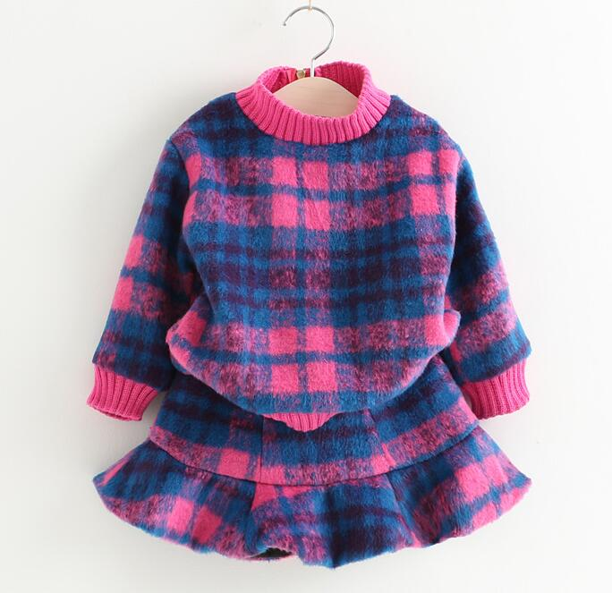 2016 winter and autumn children new girl 2pcs plaid clothes sets extra thick plaid plaid woolen dress two-piece suit
