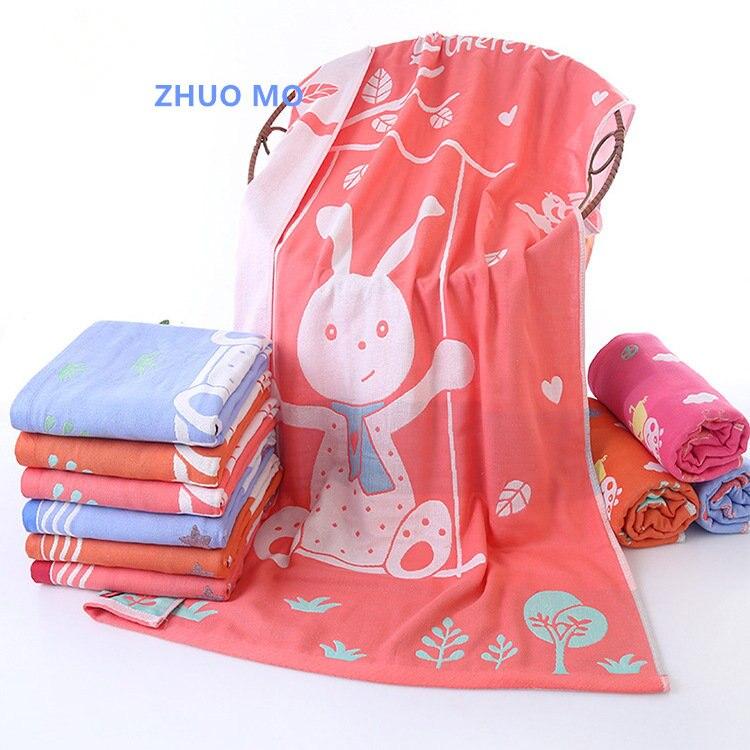 70*140cm Cotton Cute rabbit Cartoon Beach Towel bathroom for home travel Hotel Gauze Bathrobe Shawl Children Blanket Bath Towel