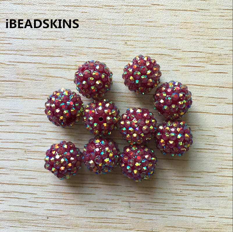 20mm 100Pcs/lot Blackberry Color AB Resin Rhinestone Chunky Beads
