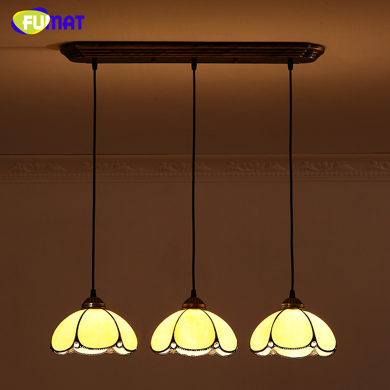цены FUMAT Brief Vintage Tiffany Glass Lamp Creative Stained Glass Lights For Living Room Dining Room Yellow Shade  LED Pendant Light