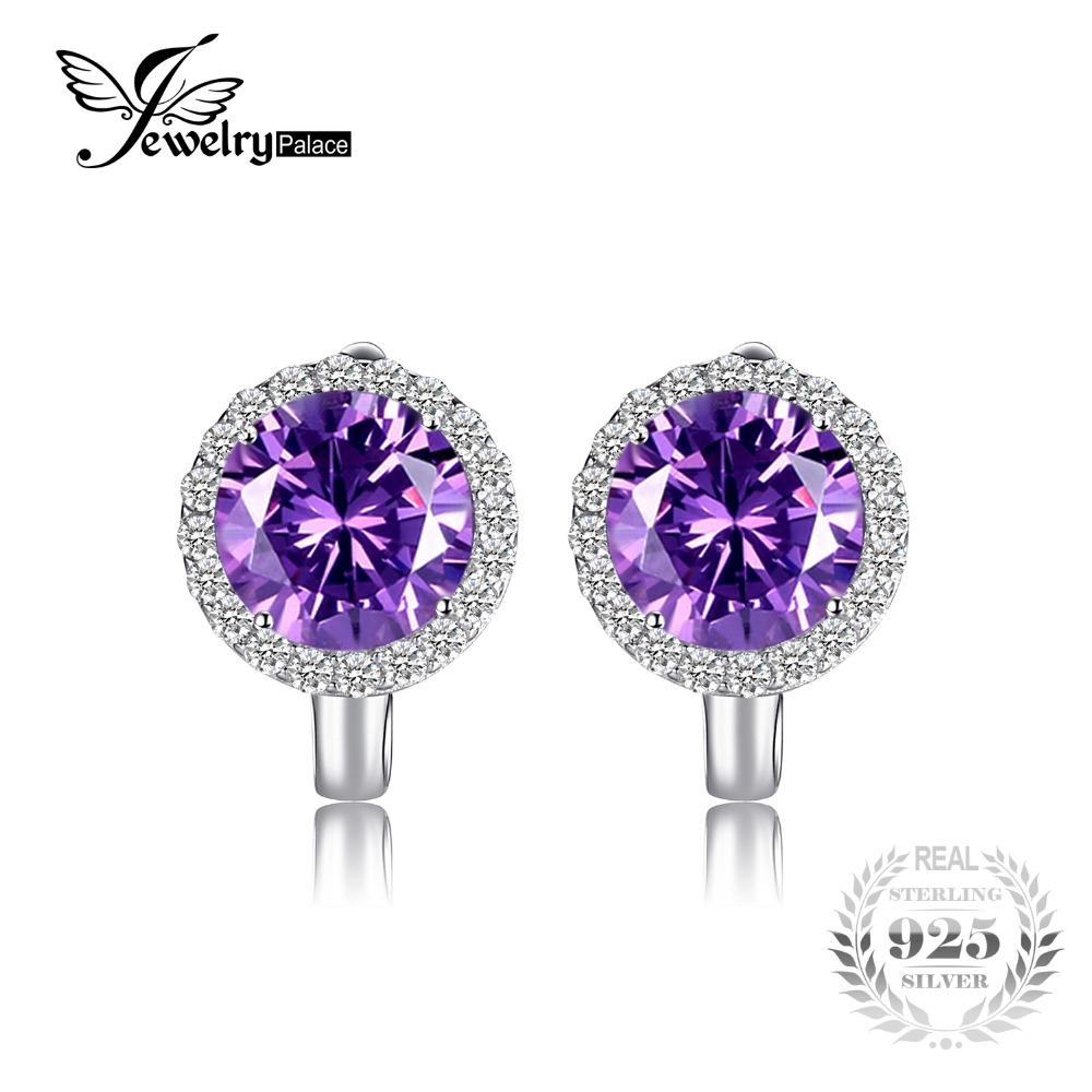 JewelryPalace Luxury 6.1ct Created Alexandrite Sapphire Clip Earrings 925 Sterling Silver Charms Brand Fine Jewelry For Women