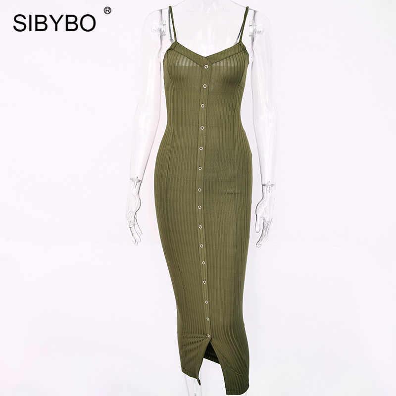Женское длинное повседневное платье Sibybo, пляжное платье-макси на узких лямках с разрезом и открытой спиной, обтягивющие платья без рукавов для лета