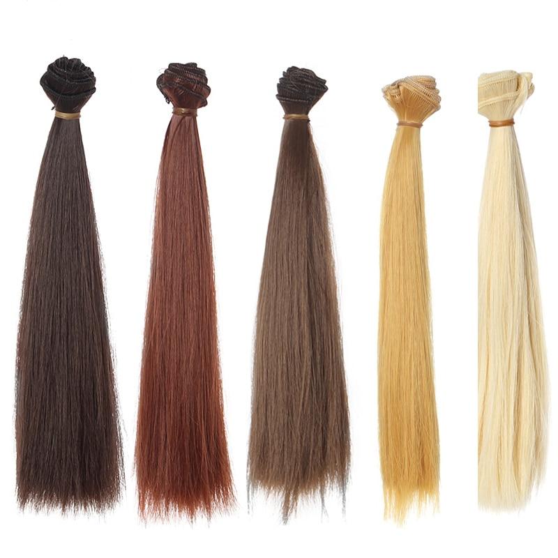 12PCS / LOT En Gros Synthétique Fibre Haute Température Perruque Blond / Marron / Noir Droit BJD Poupée Cheveux 25CM