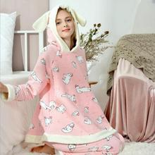 Купить с кэшбэком Maternity Pajamas Autumn Winter Air Cotton Thickened Nursing Pyjama Breastfeeding Pajamas Cute Pregnant Sleepwear Homewear A269