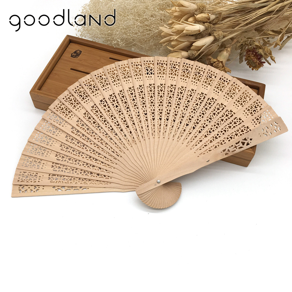 Free Shipping 50pcs/Lot Wholesale 20cm Elegant Hand Fans Supplies Aromatic Wood Pocket Folding Hand Fan Carved Wedding Decor