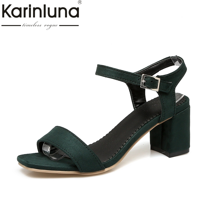 Karinluna 2018 Large Size 32-43 Ankle Strap Women Shoes Sandals Fashion Sqaure High Heels Date Girls Shoes Sandal Woman
