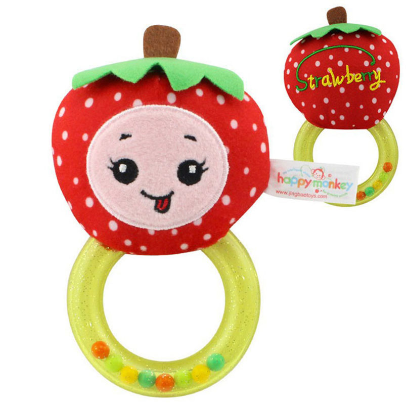 Phone Bags & Cases Lovely Cartoon Fruit Infant Baby Rattle Appease Toy Handle Shaker Ring Hanhbell Doll Hearing Development Mobile Phone Case