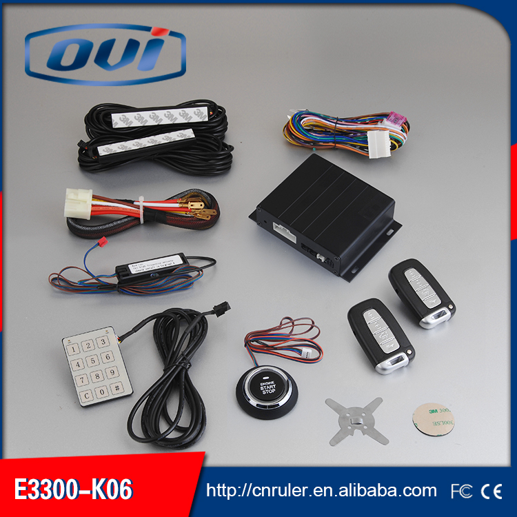 OVI Push Button remote start keyless car alarm system with window rolling up output,intelligent power off in arming/pke antenna