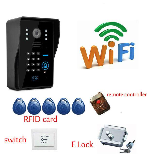 Wireless WiFi Video Door Phone Doorbell Intercom P2P Cloud with Electronick Lock,RFID Keyfobs,Remote Controller App android IOS