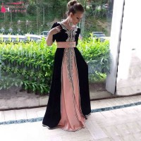 2016 Arabic African Evening Dress Black And Pink Elegant Charming Prom Dress Shinny Sequined Party Dress Evening  Dress Z029