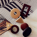 Fashion Simple Handmade Minimalist Retro Original Natural Wood Hollow Round Rectangle Earrings Jewelry