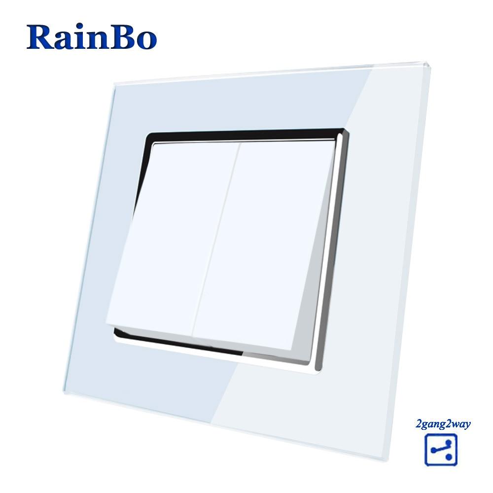 Rainbo marca fabricante 2gang2way botón Cristal de lujo panel de la moda pared interruptor A1722W/B