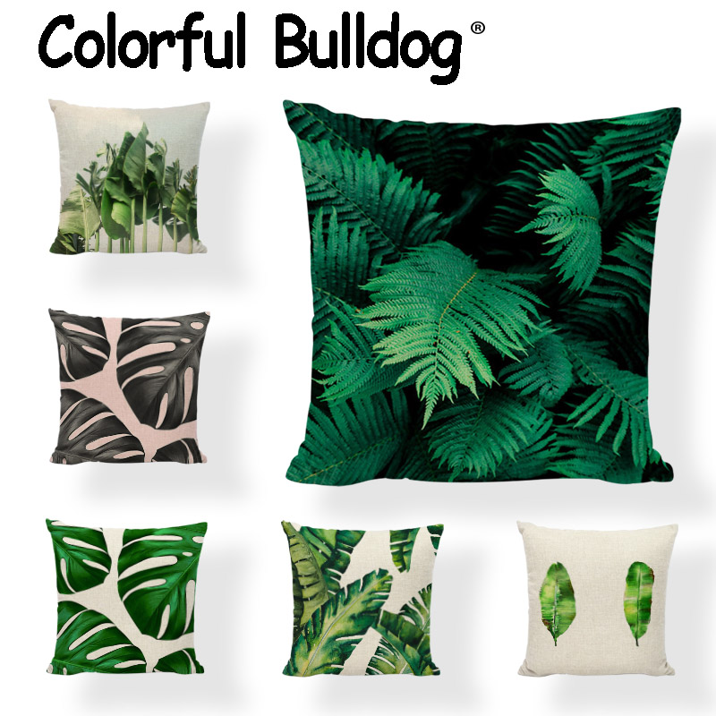 Summer Tropical Plant Flower Plam Tree Circle Cushion Cover 43*43CM Monstera Yellow Leaves Pillowcase Decorate Garden Rock Chair ...