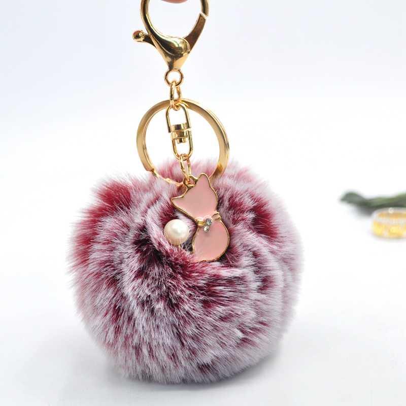 Pom Pom Faux Pele De Coelho Keychain Bonito Pérola Rosa Gato Chaveiro Trinket Chaveiro para As Mulheres Pompom Fofo Saco Menina encantos Llaveros