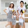 2017 Family Matching Outfit Cotton Family Set T shirt+Striped Bottom Mother Daughter Dress Clothes Father Son Clothing Sets KD15