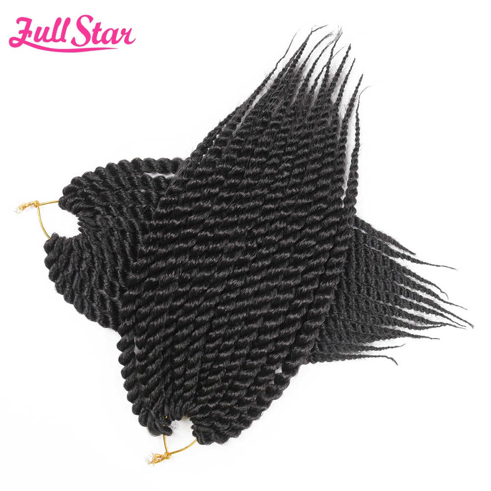 "Full Star Mambo Twist Crochet Braids Synthetic Hair 1 pack 80g 12"" Black Ombre Brown 12 Roots African Hair Extensions"