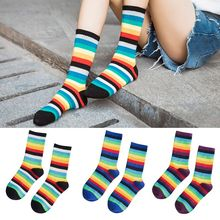 Unisex Teens Contrast Color Rainbow Striped Crew Socks Harajuku Hip-Hop Sports Streetwear Hipster Retro Cotton Long Tube Hosiery crew neck contrast striped tee