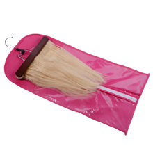 Hair Extensions Carrier Storage Non-woven Suit Case Bag Package with Wooden Hanger for Virgin Hair Weft & Clip in Hair Extension(China)