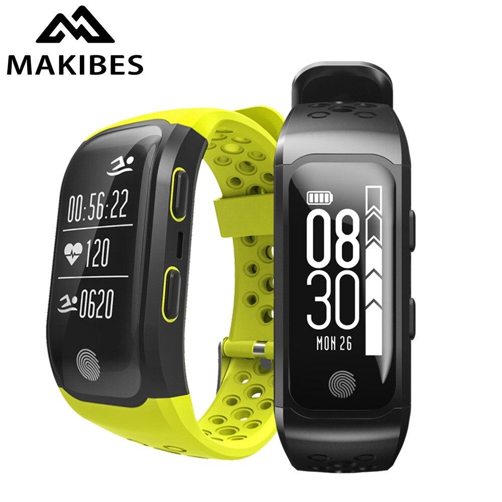 Makibes G03 умный Браслет IP68 Водонепроницаемый smart Сердечного ритма Мониторы напоминание GPS чип s908 спортивный браслет