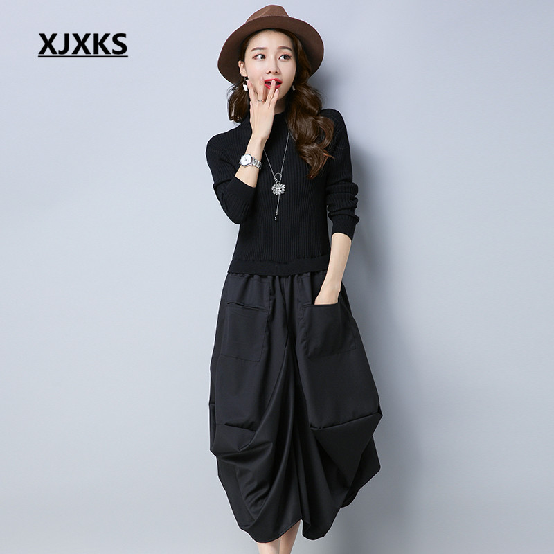 XJXKS Originality Unique Patchwork Design Fit And Flare Women Sweater Dresses Long Sleeve Loose Pockets Casual