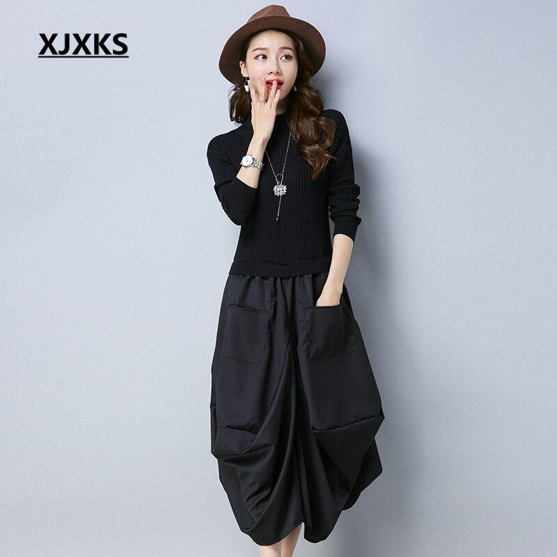 XJXKS originalité Unique Patchwork Design Fit et Flare femmes pull robes à manches longues lâche poches tenue décontractée