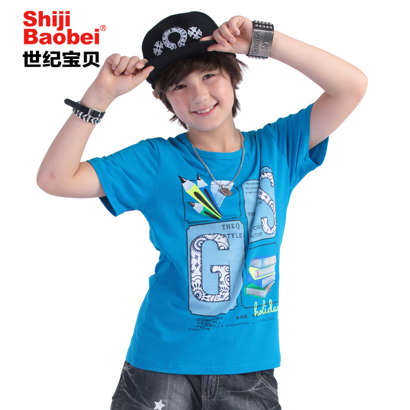 ФОТО 150-165cm Young Boy Summer Cartoon Blue/Green Soft Fabric Short Sleeve Tshirts Boys Round Tops and Tees Children T-shirt 6C3060