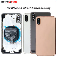 Back housing For iPhone X XS MAX Battery Back Cover Door Rear Housing case Metal Middle Frame Chassis Body Assembly with logo