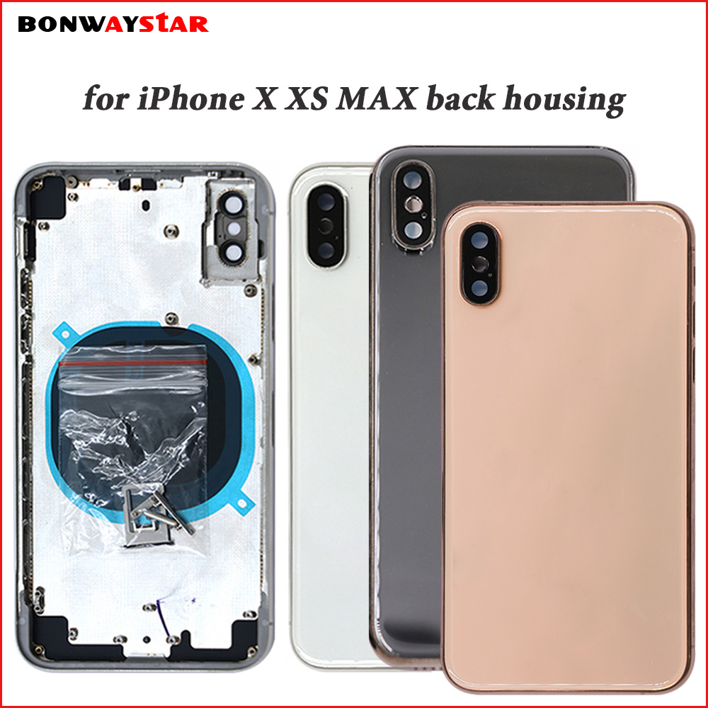 Back housing For iPhone X XS MAX Battery Back Cover Door Rear Housing case Metal Middle Frame Chassis Body Assembly with logo-in Mobile Phone Housings & Frames from Cellphones & Telecommunications    1